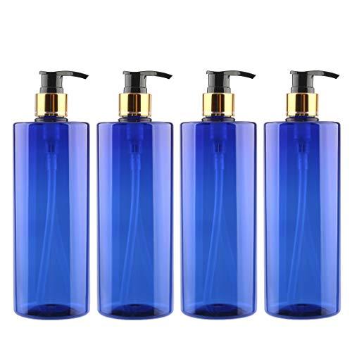 FBJIE -4 PiezasEnvase cosmético Vacías Botella de PetPlástico de500 mlAzul con Bomba Dosificadoras,para Gel, Champú de Loción, Gel de Ducha (Negro Bomba con Anillo Oro)