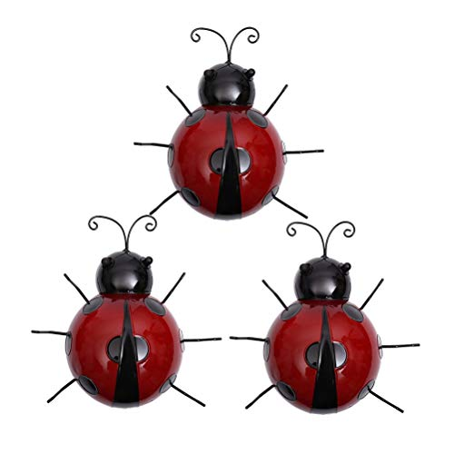 VOSAREA 3pcs Mariquita de Hierro Metal Animal Colgante Arte de la Pared Percha Interior Jardín al Aire Libre Decoración del hogar (aleatorización de Color, 9 cm)
