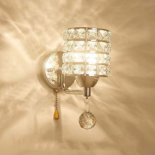 BDwantan Lámpara de cristal simple y moderna lámpara para dormitorio, mesita de noche, sala de estar, TV por cable, pasillo de fondo, 1 lámpara LED (color: cromado)