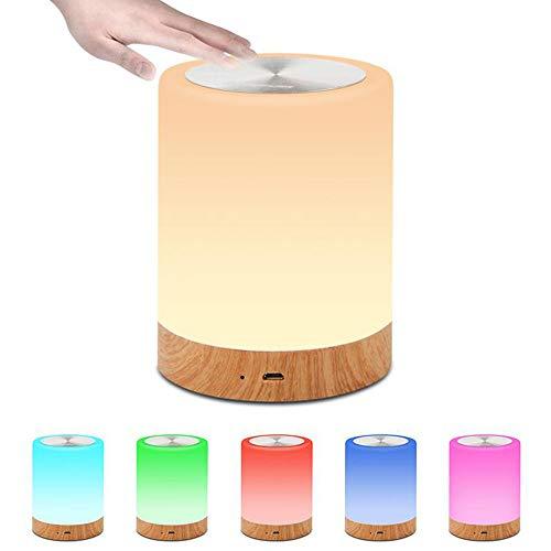LED Nachtlicht, Stimmungslicht, Nachttischlampe Lampe für Kinderzimmer, Schlafzimmer Tischleuchte, wiederaufladbar, dimmbar, Smart Touch Control Nachtlicht, warmes weißes Licht + RGB-Farbwechsel