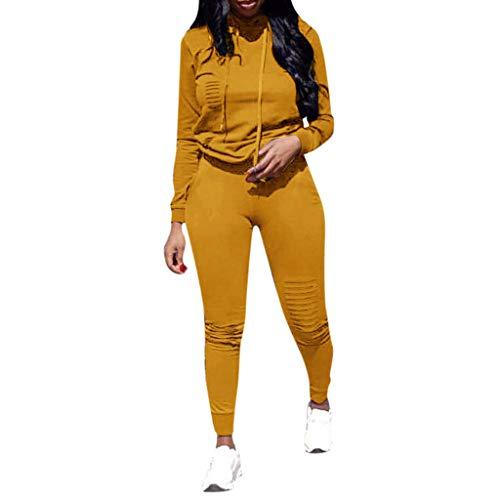 TWISFER Damen Sportanzüge Jogging Anzug Trainingsanzug Mode Einfarbig Loch Langarm Kapuzenpullover Hoodie Sweatshirt + Lange Hose Sportswear 2 Set