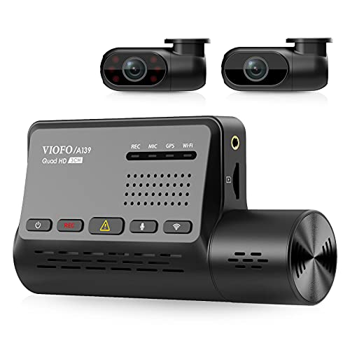 3 Channel Dash Cam WiFi GPS VIOFO A139, Front+Interior+Rear 1440P+1080P+1080P Triple Car Dash Camera, Anti-Glare CPL Filter, IR Night Vision, Supercapacitor, Parking Monitor, 256GB Supported