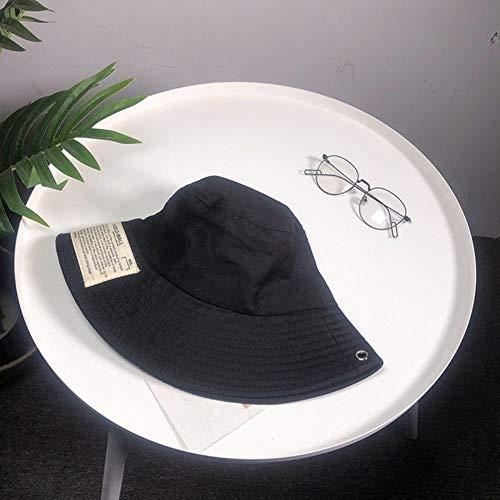 TUOF Sombrero de Pescador Mujeres Verano Estudiante Sombrero para el Sol Parche Pequeño Protector Solar Fresco Tapa del Lavabo Sombrero del Cubo Gorros, Negro, 56-58 cm