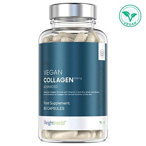 Collagene Vegetale Advanced 500mg 60 Capsule - Integratore di Collagene con Acido Ialuronico, Vitamina C, Zinco, MSM, Resveratrolo Forte - Proteine Vegane - Antirughe e Cura Della Pelle - WeightWorld