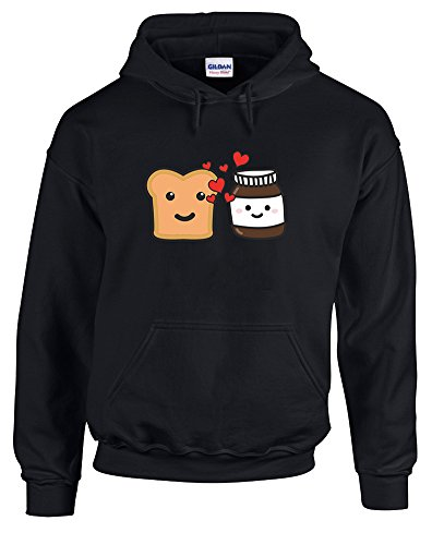 Print Wear Clothing Toast & Chocolate Spread, Gedruckt Hoody - Pullover - Schwarz/Transfer L = 106-111 cm