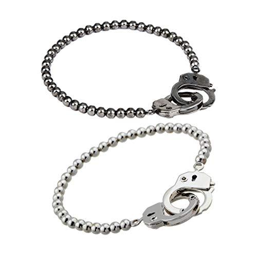Amosfun 2 stks Ketting Armband Paar Handboeien Armband Sieraden Geschenken voor Vaderdag Valentijnsdag Verjaardag 2 PCS Zwart, Sliver
