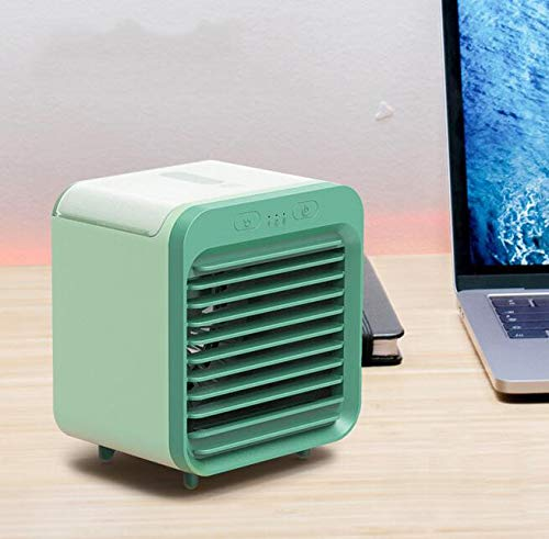 HAZUN Rechargeable Water-Cooled Mini Air Conditioner Desktop Air Cooler Humidifier Mini Fan Light for Home or Outdoors