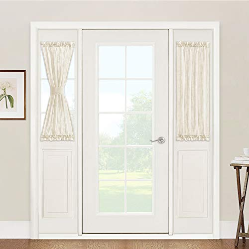 Sidelight Curtains for Front Door - French Door Side Lights Panels, Linen Texture Wave Fabric Light Filtering Decorating, 2 Free Ropes Included, 2 Pcs, 30 x 40, Beige