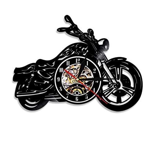 Vinilo Pared Reloj, Clásico De La Motocicleta 3D Reloj De Pare Retro creadora de decoración de la Pared del diseño Gran Reloj, Regalo Hecho a Mano Reloj de Pared(Color:with Light)