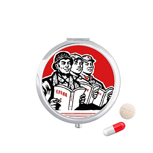 DIYthinker Worker Soldier Star Book Red Travel Pocket Pill Case Medicine Drug Opbergdoos Dispenser Spiegel Gift