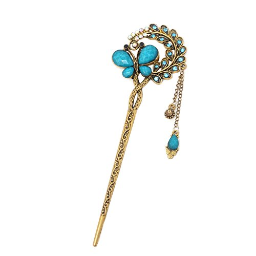 Honbay Fashion Long Hair Decoration Chinese Traditional Style Retro Tassel Alloy Blue Butterfly Hair Stick Hair Chopsticks Hairpin Chignon Pin