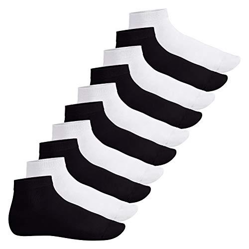 Footstar Herren & Damen Kurzschaft Socken (10 Paar) - Sneak it! - Schwarz-Weiß-Mix 43-46