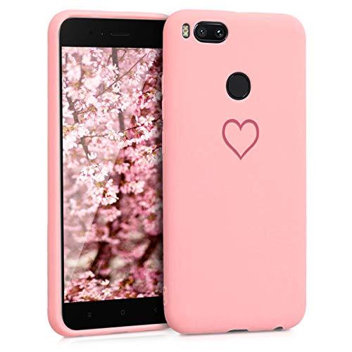 ZhuoFan Funda Xiaomi Mi A1, Cárcasa Silicona Rosa con Dibujos Diseño Suave Gel TPU Antigolpes de Protector Piel Case Cover Bumper Fundas para Movil Xiaomi MiA1, Amor Rosa
