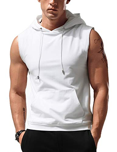 Babioboa Men's Hooded Tank Tops Sleeveless Workout Muscle Tee Fitness Bodybuilding T Shirts White
