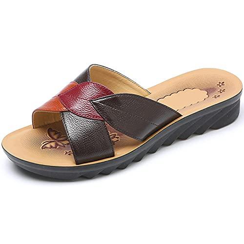 Kirin-1 Zapatillas De Casa para Mujer Bota,Zapatillas Mujer con Una Piel De Verano Cuero Rojo Antideslizante Grande TamañO 43 Viejo-36_marróN