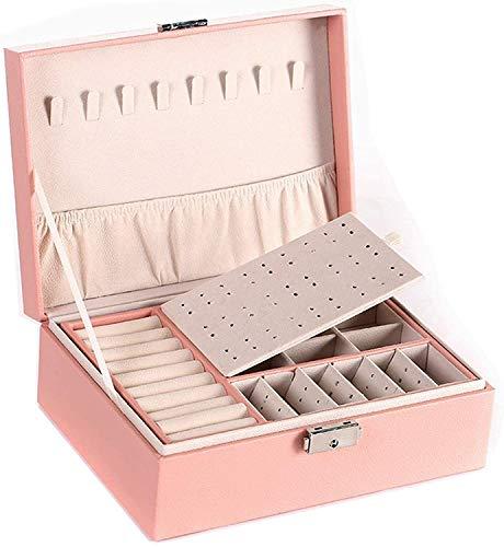 GAONAN Caja de joyería caja de joyería de doble capa caja de la caja de la caja de cuero de la PU de la PU de la PUS de almacenamiento de la PU de la joyería grande con la cerradura para el anillo del