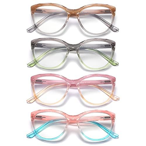 Olipunt 4 Pack Reading Glasses Blue Light Blocking ,Fashion Ladies Computer Readers with Spring Hinges ,Anti Glare UV Eyeglasses for Women +1.75