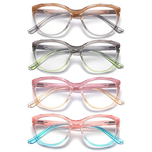 Olipunt 4 Pack Reading Glasses Blue Light Blocking ,Fashion Ladies Computer Readers with Spring...