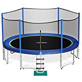 Zupapa 15 14 12 10 8ft Outdoor Trampoline with 425lbs Weight Capacity for Kids Adults,Trampolines with Safety Enclosure Net (12FT)