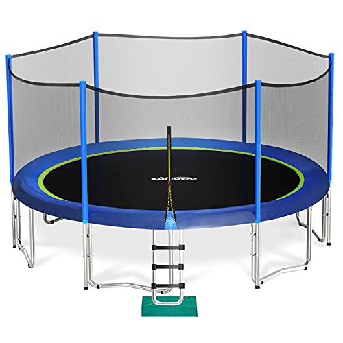 Zupapa 12 FT Kids Trampoline with Enclosure net and Poles Safety Pad Ladder Jumping Mat Rain Cover, Blue