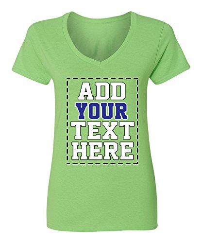 Custom V Neck T Shirts for Women - Make Your OWN Shirt - Add Your Number Text Printing Lime