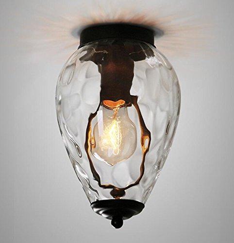 AMZH Retro-Gang Transparente Glas-Deckenbeleuchtung Kristall-Glas Ananas-Form Tür-Balkon-Decken-Lampe Eine Lange 14Cm * Breite 25Cm, B Breite 20Cm * Hohe 20Cm E27 110V 220V, a Paragraph