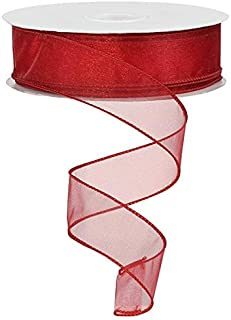 Sheer organza ribbon wired edge. color - red. 1 1/2'' x 50 yards