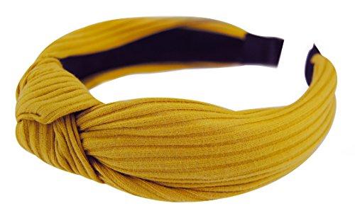axy HR34 Stoff Haarreif mit Schleife-Vintage-Wunderschön Stirnband Haarschmuck (Gelb)
