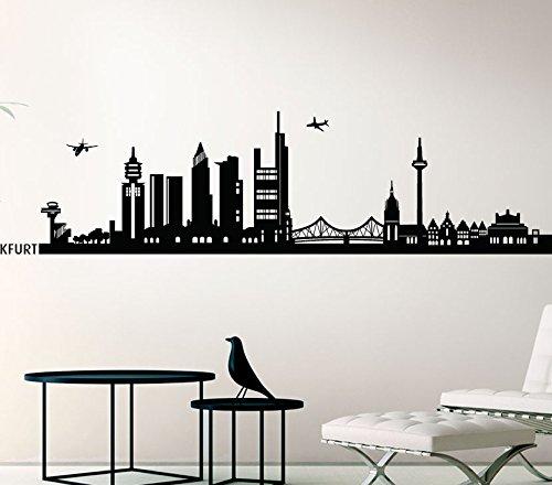 Wandora Wandtattoo Skyline Frankfurt I schwarz (BxH) 140 x 33 cm I Wohnzimmer Flur Küche Kinderzimmer Sticker Aufkleber Wandaufkleber Wandsticker G147