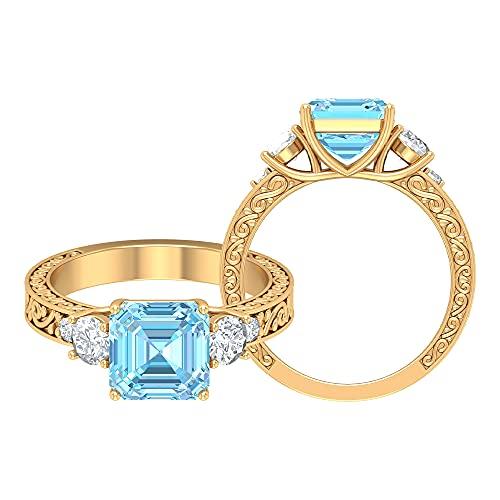 Anillo de compromiso de tres piedras de 1,75 quilates con aguamarina y moissanita, anillo grabado en oro (8 mm, talla Asscher aguamarina), 14K Oro amarillo, Size:EU 47