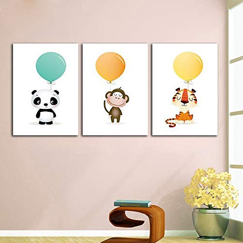 Lunderliny Canvas Printings Canvas Art Picture Cartoon Animal Holding A Balloon Painting For Children'S Room Decoration No Frame Wall Posters And Prints A