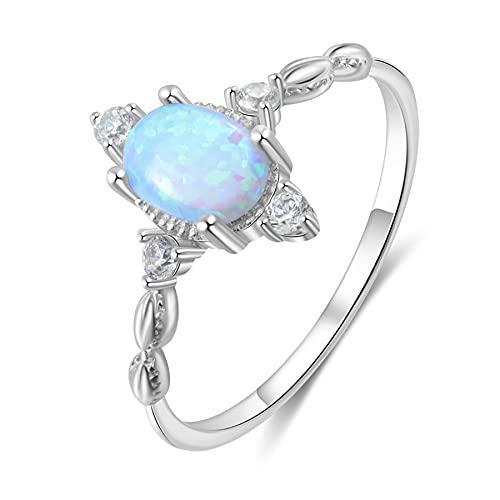 Anillos de ópalo de plata de ley 925 para mujer, anillos de dedo femeninos, circonita cúbica, plata 925, joyería de compromiso, regalos de boda para niñas 7