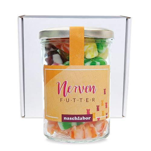 naschlabor | Home-Office Geschenkbox klein | Nervennahrung Geschenk für Büro oder Homeoffice | Fruchtgummi Naschzeug im Glas