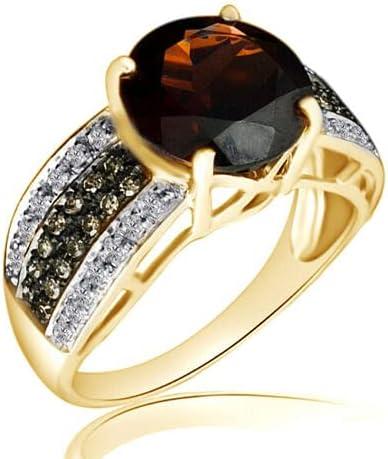 3.72 Ct Round Garnet & Champagne & White Diamond 10K Yellow Gold Engagement Ring