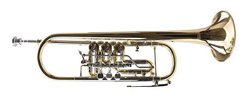Classic Cantabile TR-43G Bb-Konzerttrompete (Goldmessing, Drehventile, Trigger am 3. Ventil, klarlackiert, inklusive Hartschalenkoffer und Mundstück)