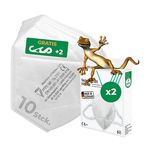faciemF, 10 Stck. FFP2 Maske, Atemschutzmaske, Masken für Mund - und Nasenschutz, FFP2 Maske CE Zertifiziert aus Deutschland, DEKRA CE0158, Made in Germany sofort ab Lager lieferbar (10)
