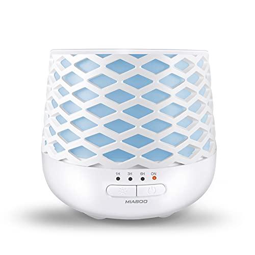 MIABOO Diffuseur d'Huiles Essentielles, 130ml Ultrasonique Humidificateur Diffuseur Aromathérapie avec 7 Lumière LED à Couleurs Variables und Anhydre Arrêt Automatique pour la Maison, Bureau - Blanc