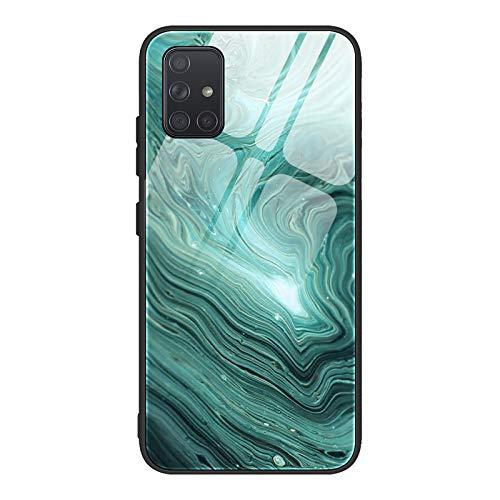GOGME Cover per Samsung Galaxy S21(6.2') 5G Cover, Custodia in Vetro a Trama di Marmo, Vetro Temperato AntiGraffio Back Cover + Bordo in Silicone Morbido TPU Protettiva Case Cover(2)