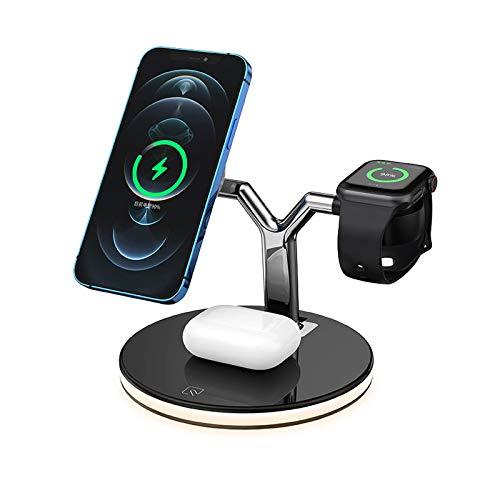 Cargador inalámbrico, soporte de carga tres en uno Estación de carga rápida de 15 W, adecuado para iPhone 12 Pro max/i watch/Airpods pro, compatible con dispositivos de teléfonos inteligentes QI