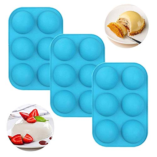 6 Holes Silicone Mold For Chocolate,Half Sphere Silicone Molds For Baking, BPA Free Cupcake Baking ,Silicone Molds for Making Chocolate, Cake, Jelly, Dome Mousse (3Pcs Blue)