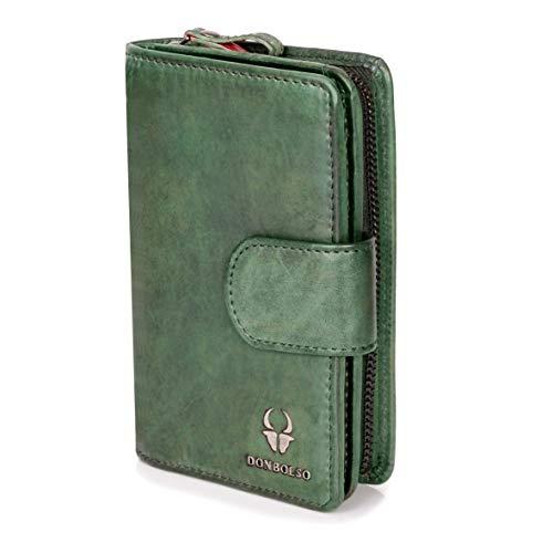 DONBOLSO® Geldbörse Prag I Portemonnaie aus echtem Nappaleder für Damen I Geldbeutel mit 10 Kartenfächern und RFID-Schutz I (Grün)