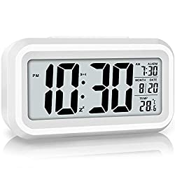 WulaWindy Led Display Digital Alarm Clock Battery Operated Smart Night Light Easy Operation Clock for Kids Heavy Sleepers Bedroom Clock (White)