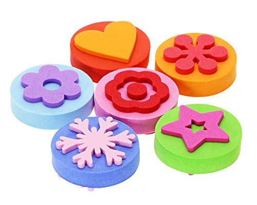 Penta Angel EVA Painting Sponges 6Pcs Double-Side Foam Painting Stamper Brush Flower Shapes Art Paint Drawing Tools for Kids Toddlers Early Learning and Crafts DIY