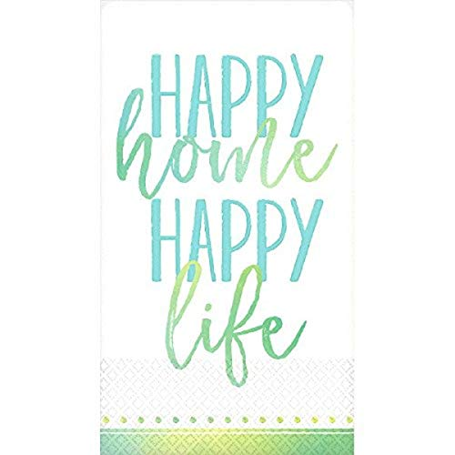 Amscan Party Supplies Guest Towel Home, Happy Life, One Size, Mul