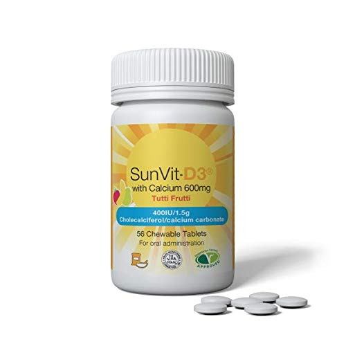 SunVit-D3 400IU/600mg Calcium – 56 Chewable Tablets - Summer Tutti Frutti Flavour - 2 Months Supply - to be Taken Weekly - Adults & Children Over 10 Years Old