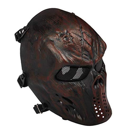 Sensong Airsoft Maske mit Metallgitter Augenschutz Halloween Schutzmaske Taktische Full Face fur Paintball Softair CS Partyspiel Copper