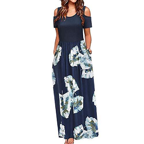 N\P Vestido de mujer con hombros y estampado floral, elegante maxi vestido largo con bolsillo, vestido casual