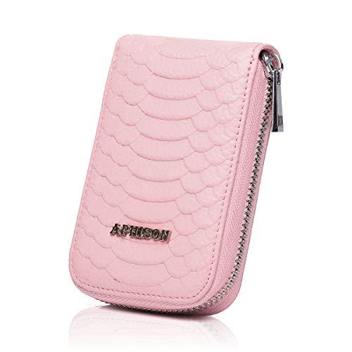 APHISON Damen RFID Blocking Leder Kartenetui Geldbörse minimalistische Portemonnaie Viele Fächer Veranstalter Kompakt für Frauen (Pink)