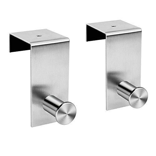 Coat Hook Over The Door Hanger of Cubicle Entryway Bathroom Metal Over The Door Hook for Hanging Coats Hat Towel Clothes Robes Assembly Door Hooks Silver SKOLOO Over Door Hook
