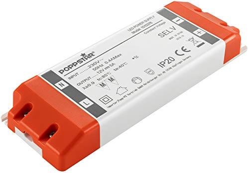 Poppstar LED Trafo Transformator 230V AC / 12V DC 5A für 0,6 bis 60 Watt LEDs